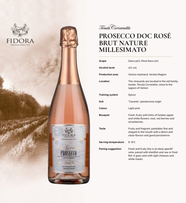 Fidora Civranetta Prosecco Rose D.O.C. Organic Brut Nature 0.75L