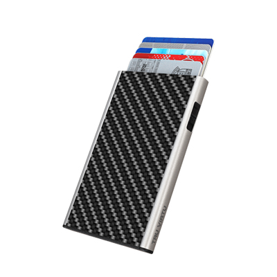 Tru Virtu Card Case Click & Slide Carbon Fibre Black/Silver