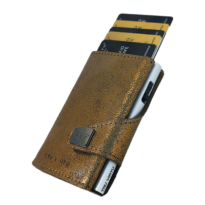 Tru Virtu Wallet Click & Slide Glitter Goldbrown/Silver