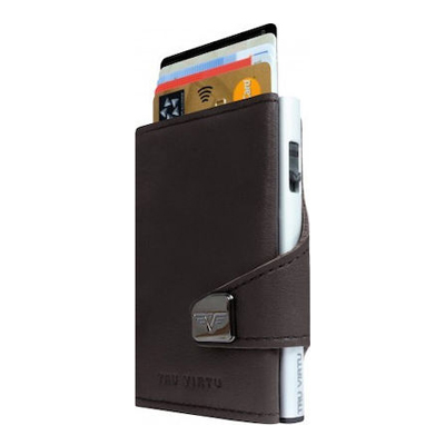 Tru Virtu Wallet Click & Slide Nappa Brown/Silver